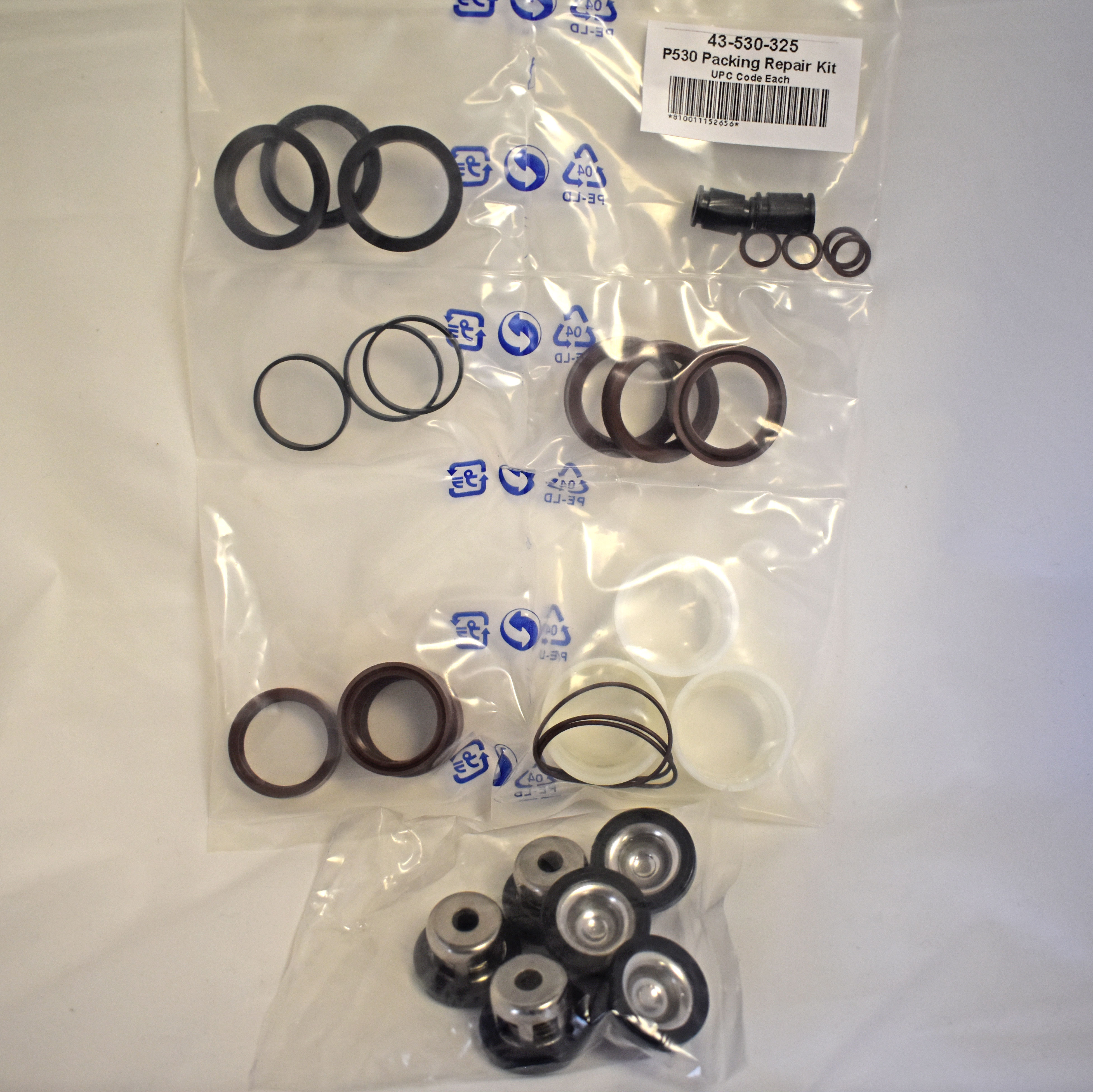 43-530-380 GNC P530 Piston Pump Rebuild Kit - Includes Valve Repair Kit and Packing Kit